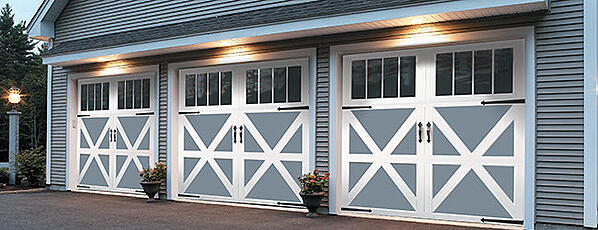Carriage House Garage Doors with Windows and Accessories 1