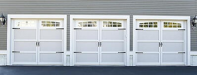 Carriage House Garage Doors with Windows and Accessories