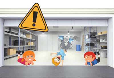 Children Playing Under Garage Door