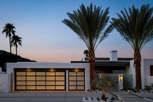 Clopay Avante Collection glass garage doors on the Christopher Kennedy Compound in Palm Springs.