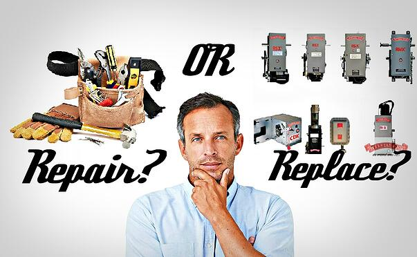 Commercial Operators  Repair or Replace; Blogpost header picture; repair tools and replacement garage door opener.