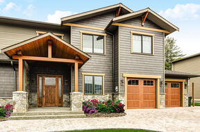Fiberglass Garage Door - Impression Collection® 983 with Cherry Stain in NJ