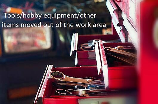 How to Prepare For Your Garage Door & Opener Service Call; Tools hobby equipment other items moved out of the work area.