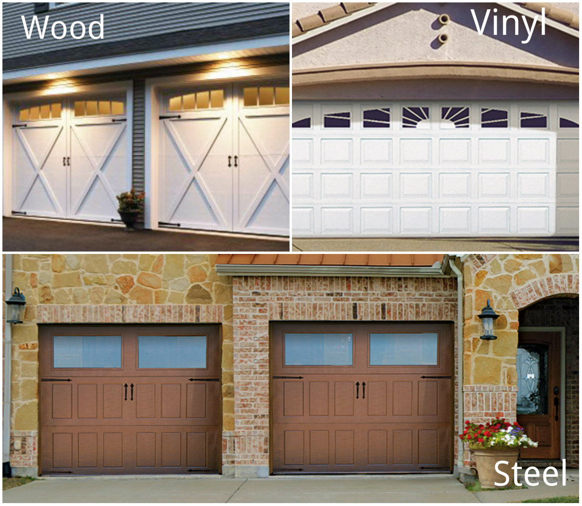 How to Prepare For Your Garage Door & Opener Service Call; single car wide door vs. single car wide door; wood, vinyl and steel garage doors.