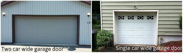 How to Prepare For Your Garage Door & Opener Service Call; single car wide door vs. single car wide door.