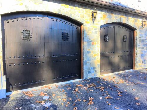 Paint Grade Wood Garage Doors Medieval Style - inspired by Overhead Door Company of Central Jersey