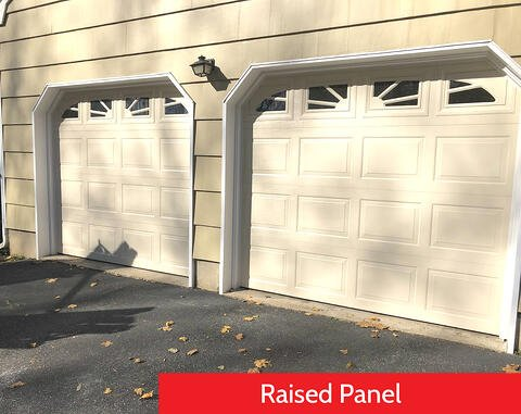Raised Panel vs Recessed Panel Garage Doors; Raised Panel; White Residential Garage Door