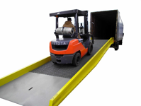 Industrial Vehicle on a Portable Ramp