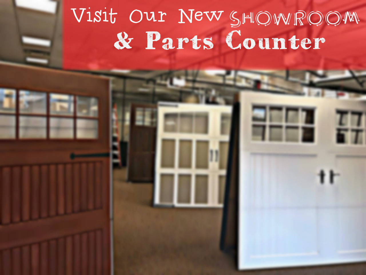 Visit Our New Showroom & Parts Counter; Showroom filled with Garage Doors; Overhead Doors Co. Showroom; New Headquarters located at 952 Route 202 SouthBranchburg, NJ 08876