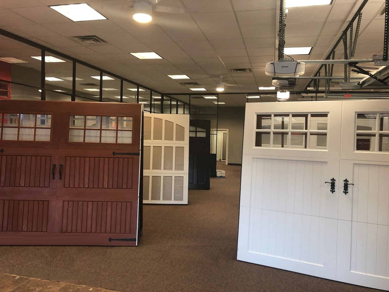 Visit Our New Showroom & Parts Counter; Showroom filled with Garage Doors; Overhead Doors Co. of Central Jersey Garage Doors, Central Jersey Overhead Door Company