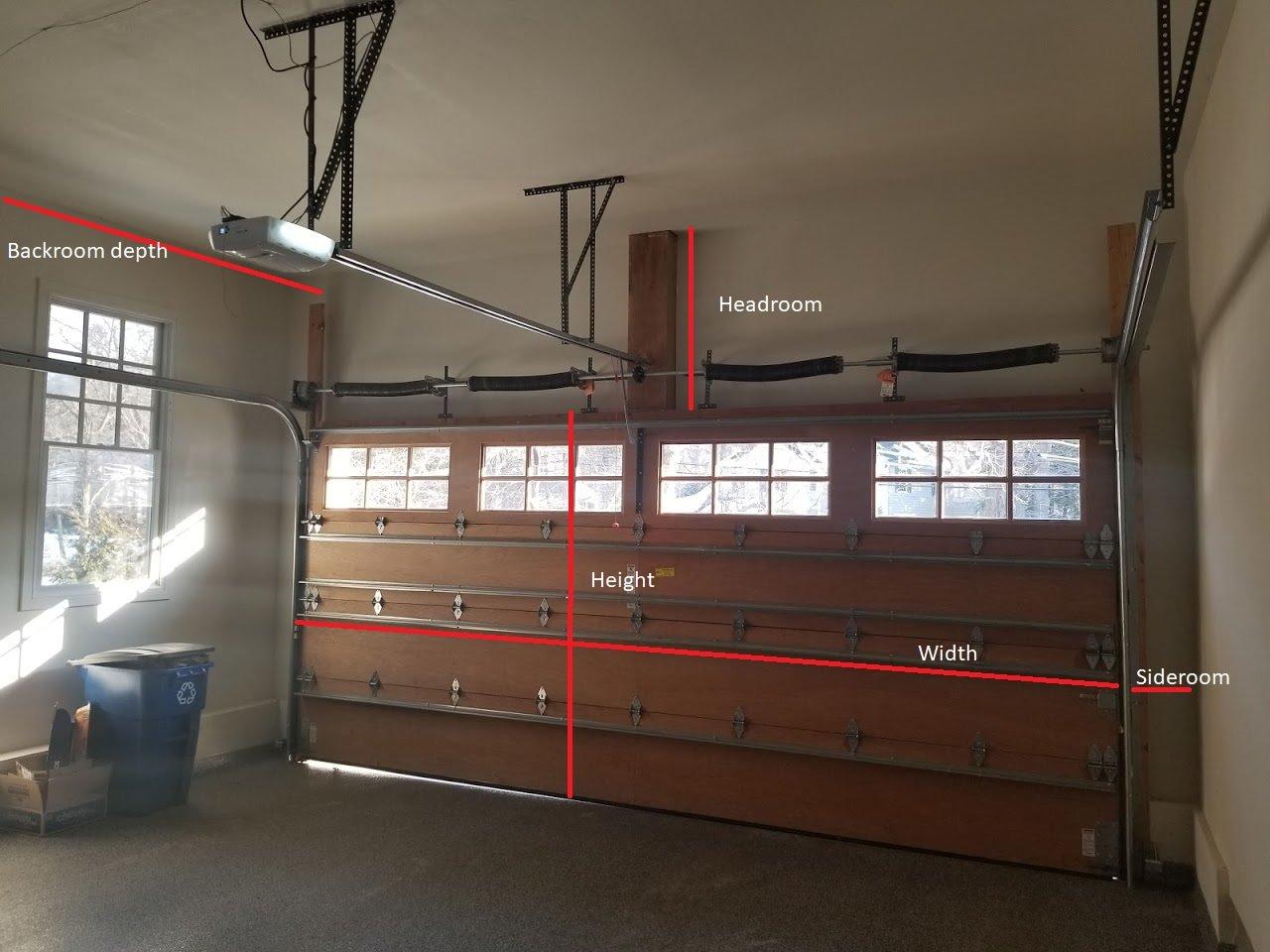 What is garage door headroom; Headroom, height, width, sideroom, backroom depth; garage door installation