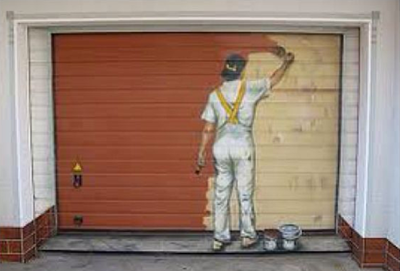 Painted Garage Door with Paintor on It